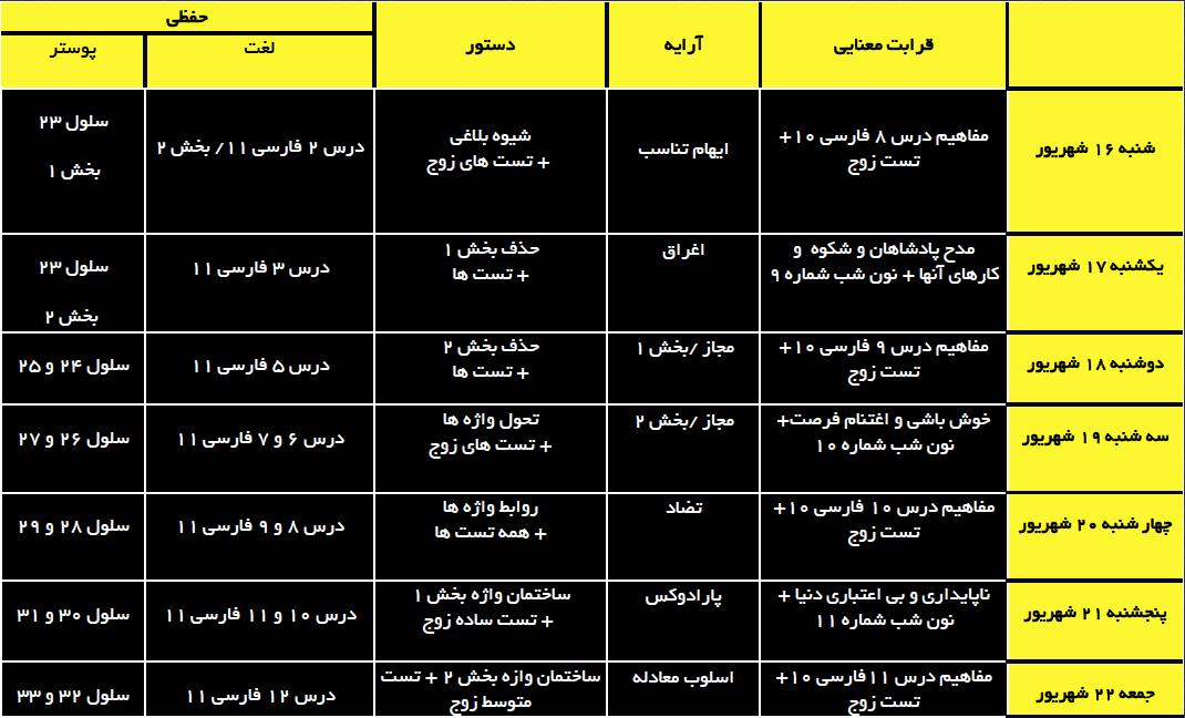 برنامه شانزدهم تا بیست و دوم شهریور ماه